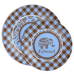 Gingham & Elephants Melamine Plate (Personalized)
