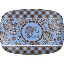 Gingham & Elephants Melamine Platter (Personalized)