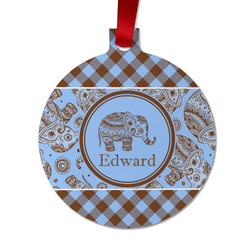 Gingham & Elephants Metal Ornaments - Double Sided w/ Name or Text
