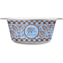 Gingham & Elephants Stainless Steel Pet Bowl (Personalized)