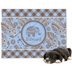 Gingham & Elephants Minky Dog Blanket (Personalized)