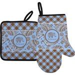 Gingham & Elephants Oven Mitt & Pot Holder (Personalized)