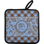 Gingham & Elephants Pot Holder w/ Name or Text