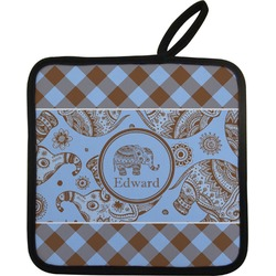 Gingham & Elephants Pot Holder (Personalized)