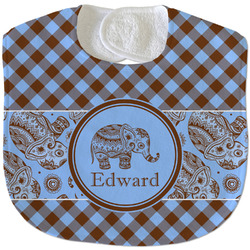 Gingham & Elephants Velour Baby Bib w/ Name or Text