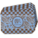 Gingham & Elephants Dining Table Mat - Octagon w/ Name or Text