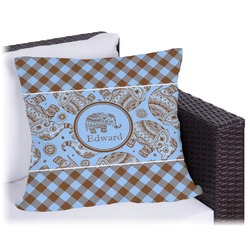 """Gingham & Elephants Outdoor Pillow - 18"""" (Personalized)"""