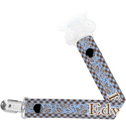 Gingham & Elephants Pacifier Clips (Personalized)