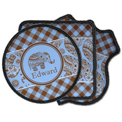 Gingham & Elephants Iron on Patches (Personalized)