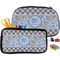 Gingham & Elephants Pencil / School Supplies Bag (Personalized)