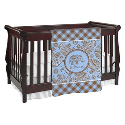 Gingham & Elephants Baby Blanket (Personalized)