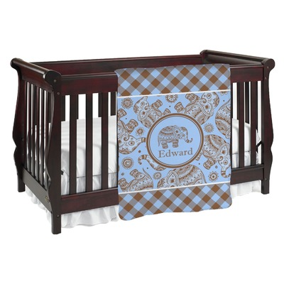 Gingham & Elephants Baby Blanket (Personalized)
