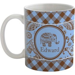 Gingham & Elephants Coffee Mug (Personalized)