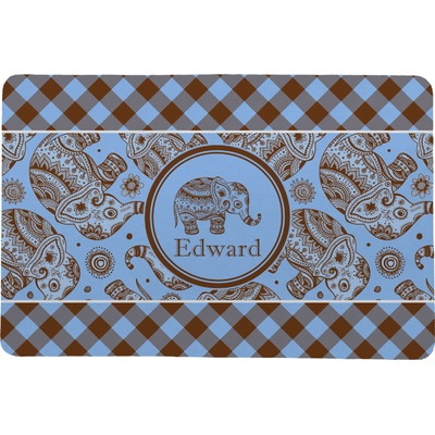 Gingham & Elephants Comfort Mat (Personalized)