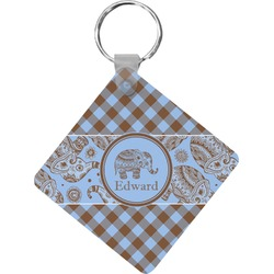 Gingham & Elephants Diamond Key Chain (Personalized)