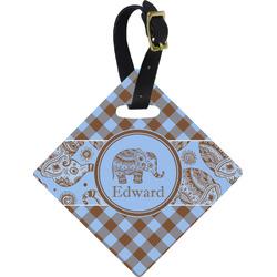 Gingham & Elephants Diamond Luggage Tag (Personalized)