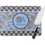 Gingham & Elephants Rectangular Glass Cutting Board (Personalized)