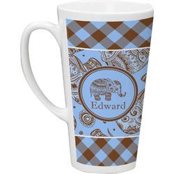 Gingham & Elephants Latte Mug (Personalized)