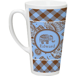 Gingham & Elephants Latte Mug (Personalized)