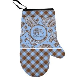 Gingham & Elephants Right Oven Mitt (Personalized)