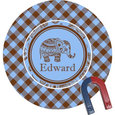 Gingham & Elephants Round Fridge Magnet (Personalized)