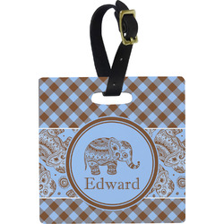 Gingham & Elephants Luggage Tags (Personalized)