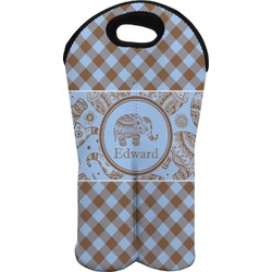 Gingham & Elephants Wine Tote Bag (2 Bottles) (Personalized)