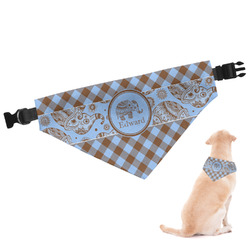 Gingham & Elephants Dog Bandana (Personalized)