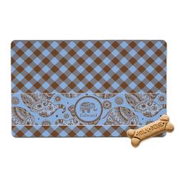 Gingham & Elephants Pet Bowl Mat (Personalized)