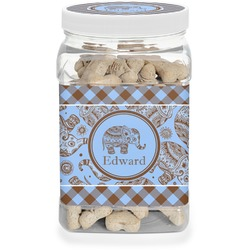 Gingham & Elephants Pet Treat Jar (Personalized)
