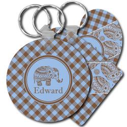 Gingham & Elephants Plastic Keychains (Personalized)