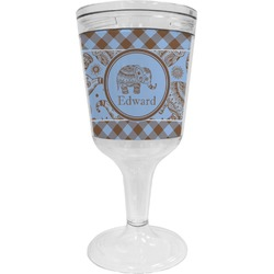 Gingham & Elephants Wine Tumbler - 11 oz Plastic (Personalized)
