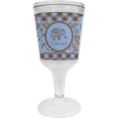 Gingham & Elephants Wine Tumbler - 11 oz Plastic (Personalized)