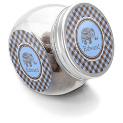Gingham & Elephants Puppy Treat Jar (Personalized)