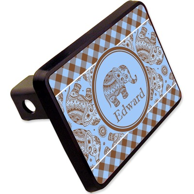 """Gingham & Elephants Rectangular Trailer Hitch Cover - 2"""" (Personalized)"""