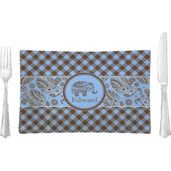 Gingham & Elephants Rectangular Glass Lunch / Dinner Plate - Single or Set (Personalized)