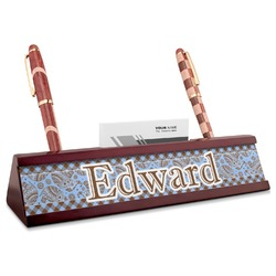Gingham & Elephants Red Mahogany Nameplate with Business Card Holder (Personalized)