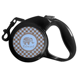 Gingham & Elephants Retractable Dog Leash (Personalized)
