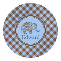 Gingham & Elephants Round Decal - Custom Size (Personalized)
