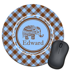 Gingham & Elephants Round Mouse Pad (Personalized)