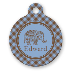 Gingham & Elephants Round Pet Tag (Personalized)
