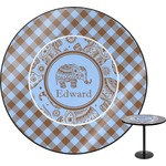 Gingham & Elephants Round Table (Personalized)