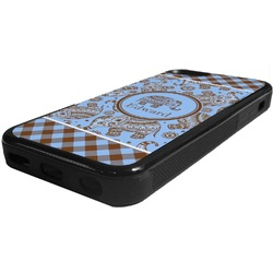 Gingham & Elephants Rubber iPhone 5C Phone Case (Personalized)