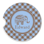 Gingham & Elephants Sandstone Car Coasters (Personalized)