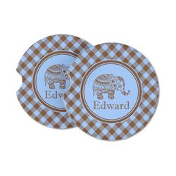 Gingham & Elephants Sandstone Car Coasters (Personalized)