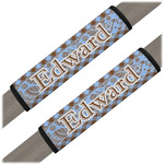 Gingham & Elephants Seat Belt Covers (Set of 2) (Personalized)