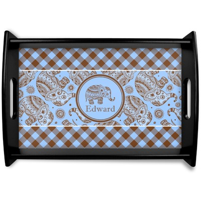 Gingham & Elephants Wooden Trays (Personalized)