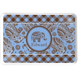 Gingham & Elephants Serving Tray (Personalized)
