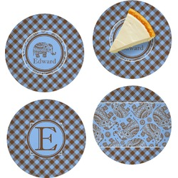 """Gingham & Elephants Set of 4 Glass Appetizer / Dessert Plate 8"""" (Personalized)"""
