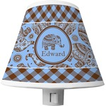 Gingham & Elephants Shade Night Light (Personalized)